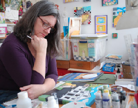 pic of jen at art table etsy profile pic